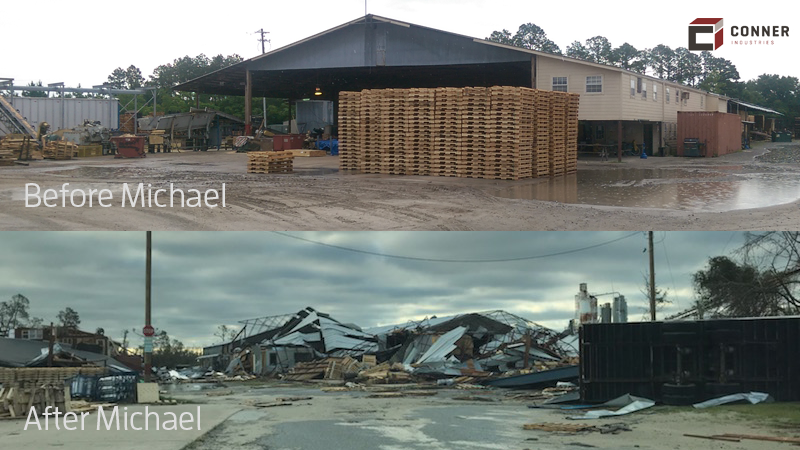 Panama City plant before and after Michael